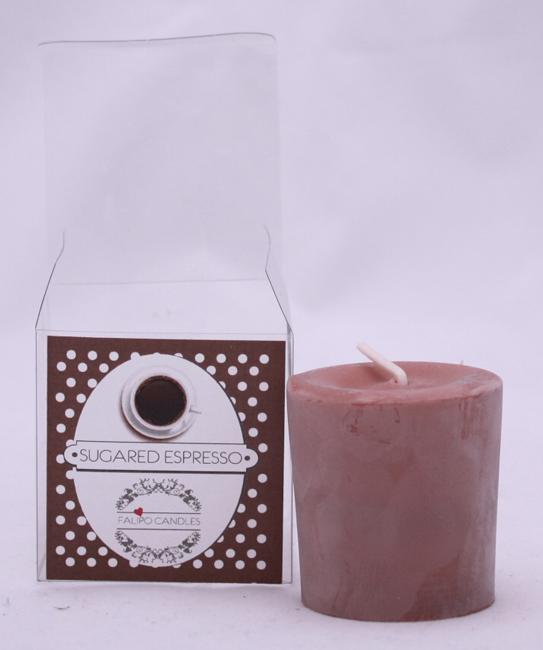 geurkaars van soja was sugared espresso klein / votief